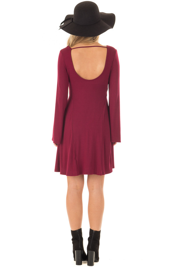 Burgundy Swing Dress with Open Back and Bell Sleeves back full body