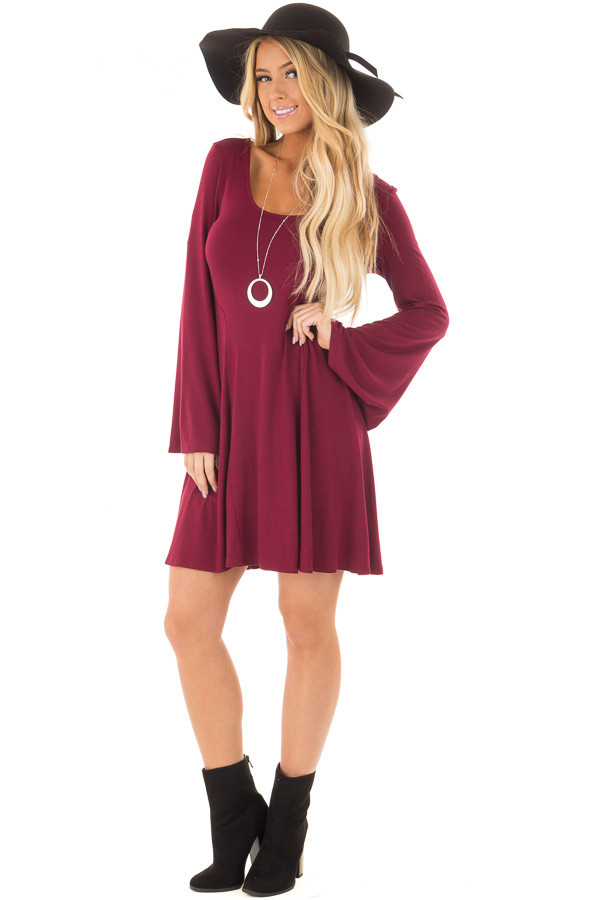 Burgundy Swing Dress with Open Back and Bell Sleeves front full body