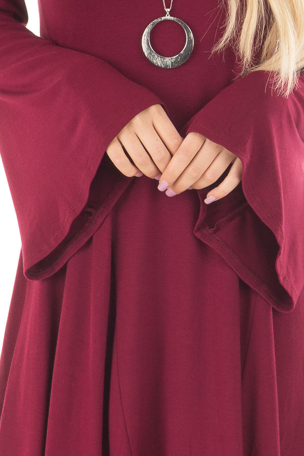 Burgundy Swing Dress with Open Back and Bell Sleeves front detail