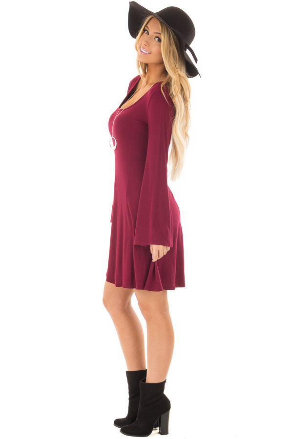 Burgundy Swing Dress with Open Back and Bell Sleeves side full body