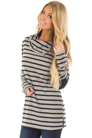 Navy Striped Long Sleeve Sweater with Elbow Patches front closeup