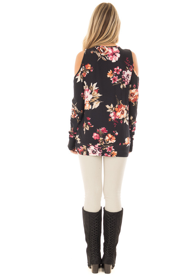 Black Super Soft Crossover Top with Cold Shoulders back full body