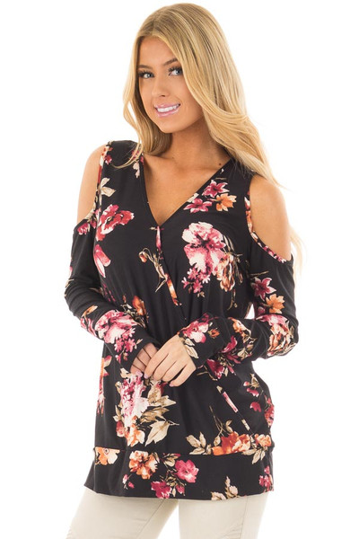 Black Super Soft Crossover Top with Cold Shoulders front closeup
