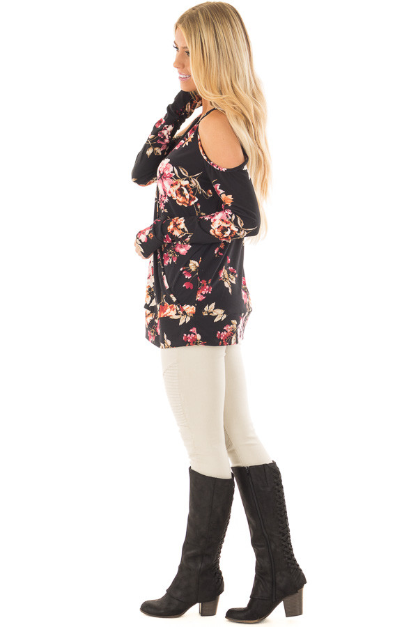 Black Super Soft Crossover Top with Cold Shoulders side full body