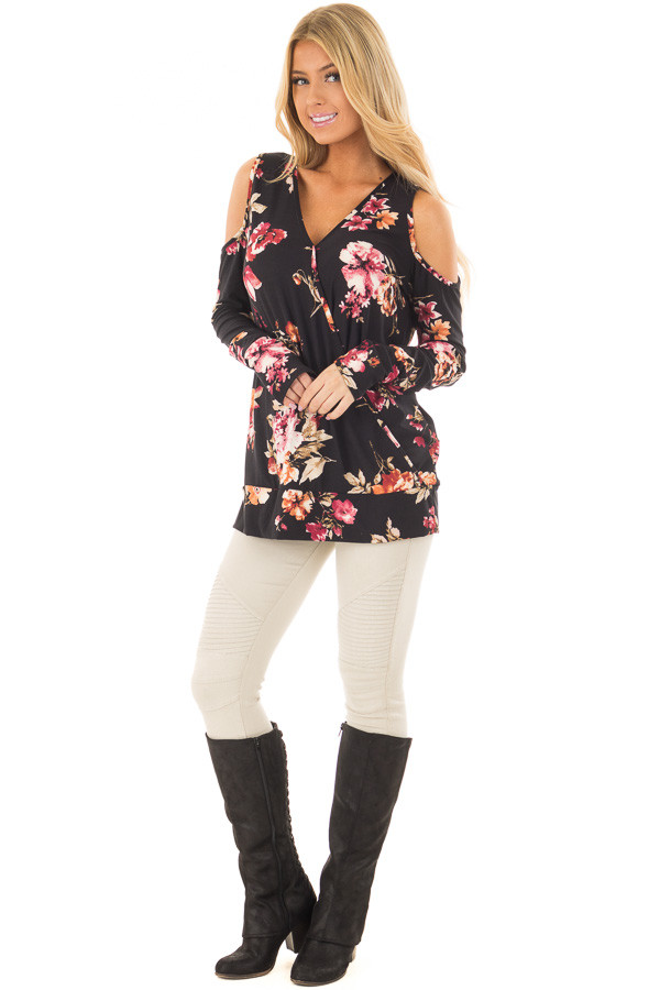 Black Super Soft Crossover Top with Cold Shoulders front full body