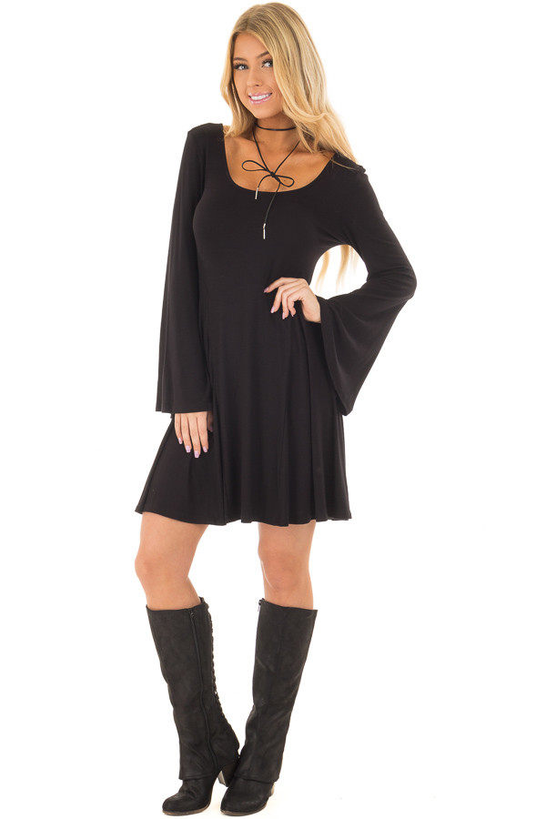 Black Swing Dress with Open Back and Bell Sleeves front full body