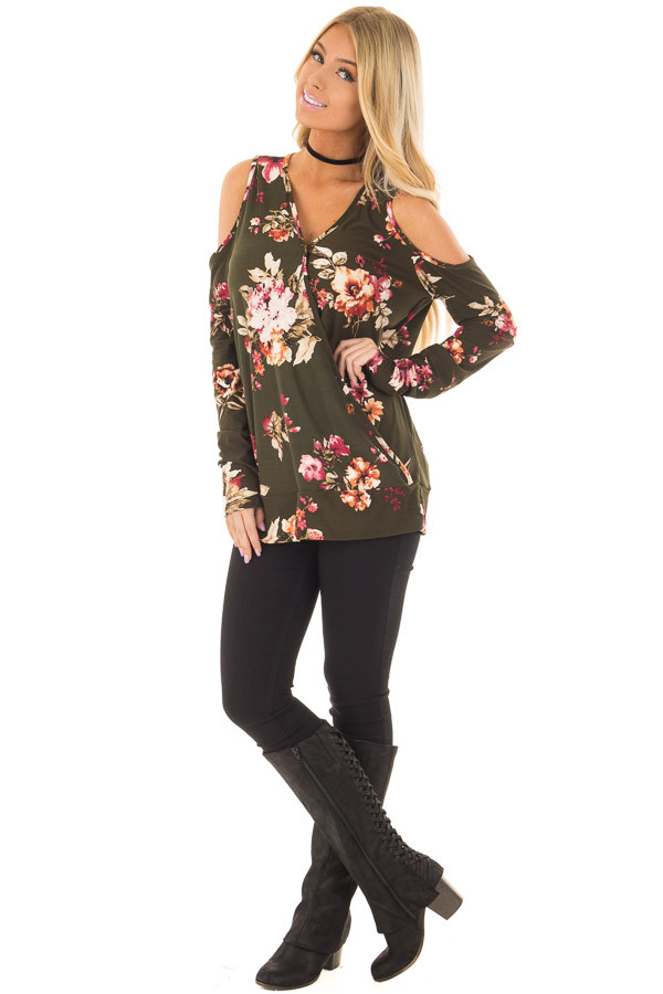 Olive Super Soft Crossover Top with Cold Shoulders front full body