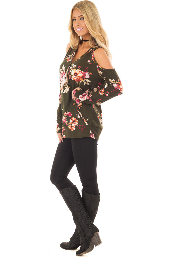 Olive Super Soft Crossover Top with Cold Shoulders side full body