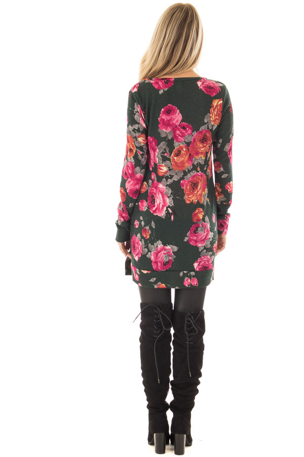 Charcoal Floral V Neck Tunic with Pockets back full body