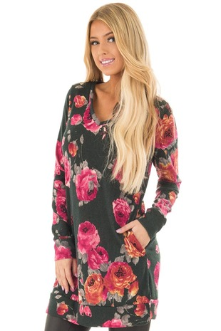 Charcoal Floral V Neck Tunic with Pockets front closeup