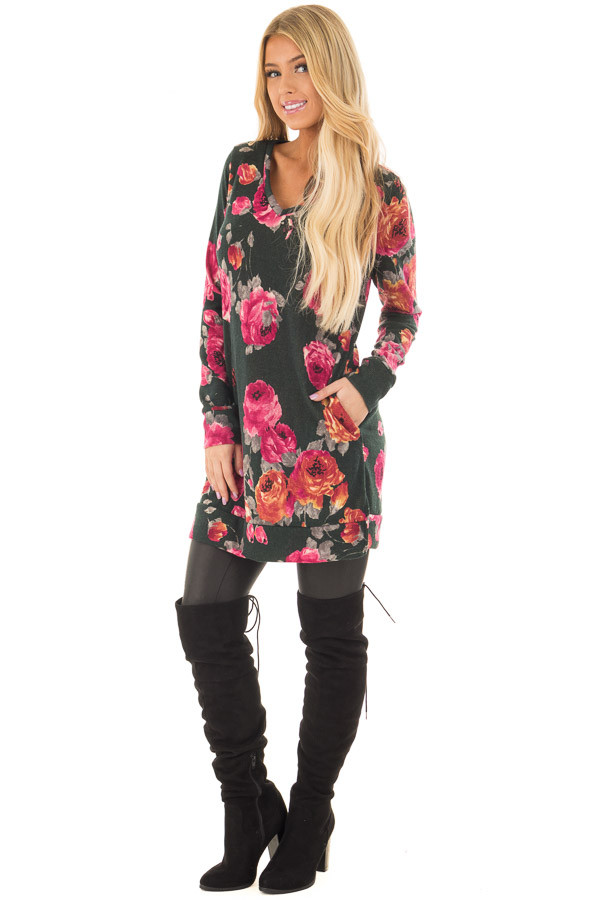 Charcoal Floral V Neck Tunic with Pockets front full body