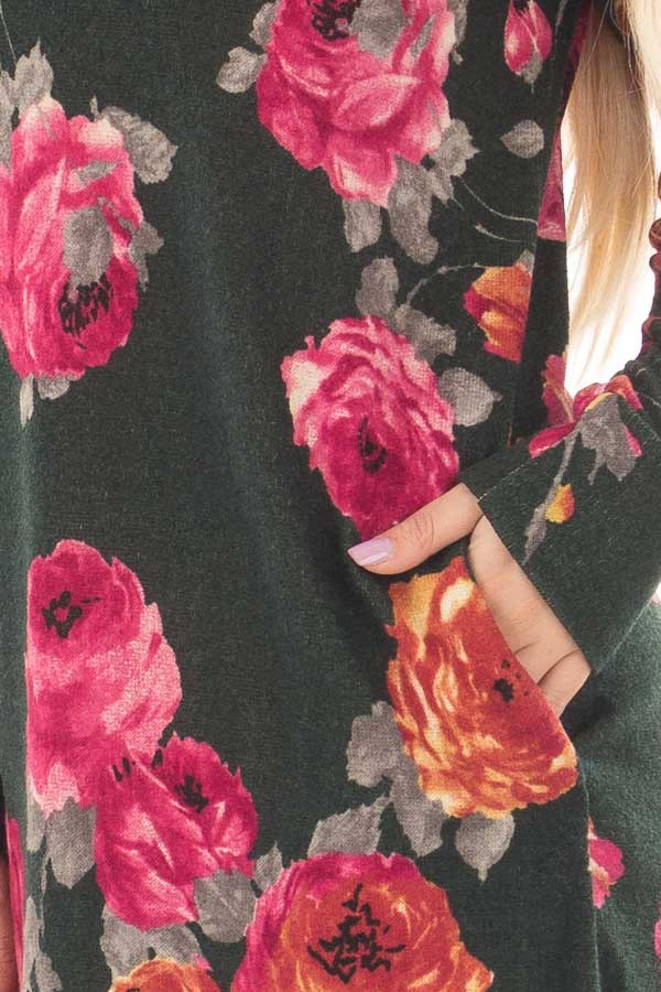 Charcoal Floral V Neck Tunic with Pockets front detail