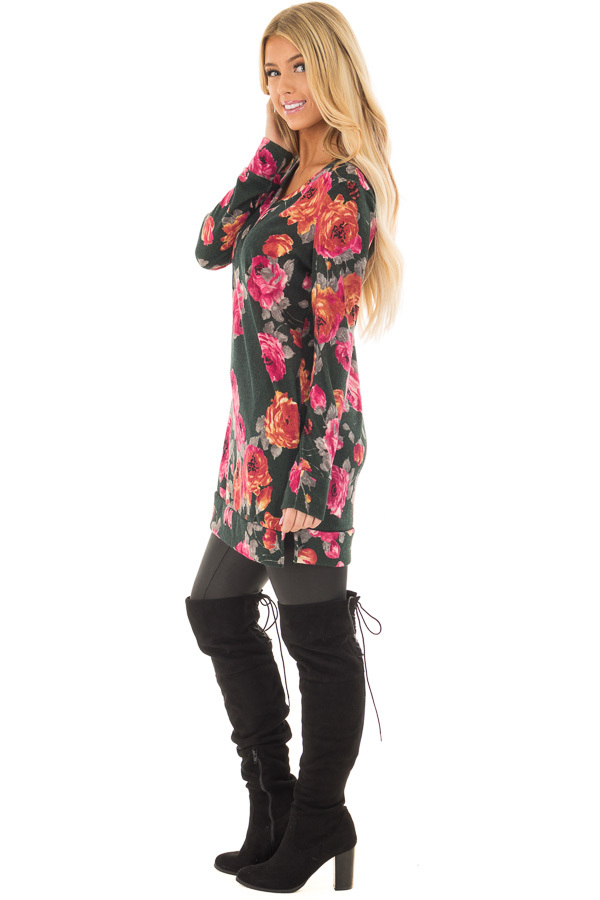 Charcoal Floral V Neck Tunic with Pockets side full body
