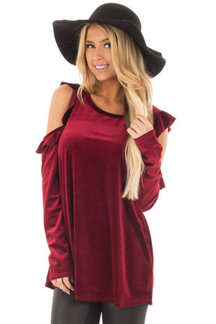 Burgundy Cold Shoulder Velvet Top with Ruffle Detail front closeup