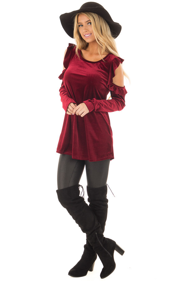 Burgundy Cold Shoulder Velvet Top with Ruffle Detail front full body