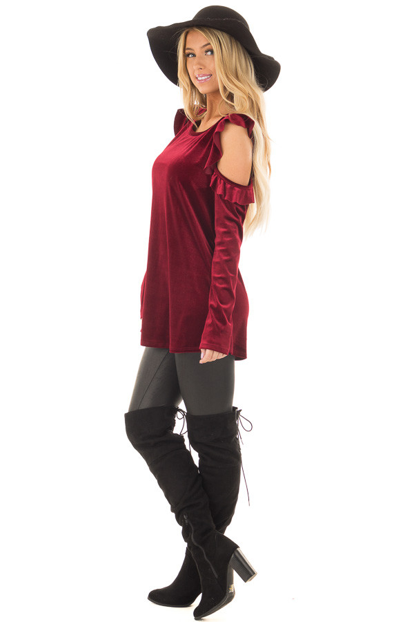 Burgundy Cold Shoulder Velvet Top with Ruffle Detail side full body