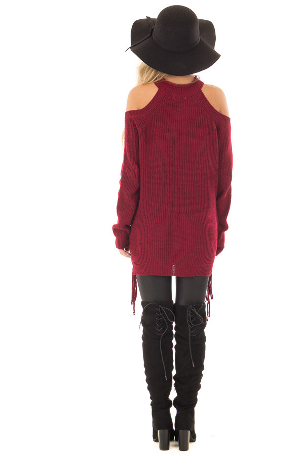 Burgundy Cold Shoulder Long Sleeve Sweater back full body