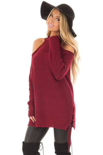 Burgundy Cold Shoulder Long Sleeve Sweater front closeup
