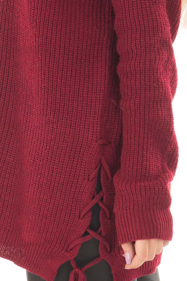 Burgundy Cold Shoulder Long Sleeve Sweater side detail