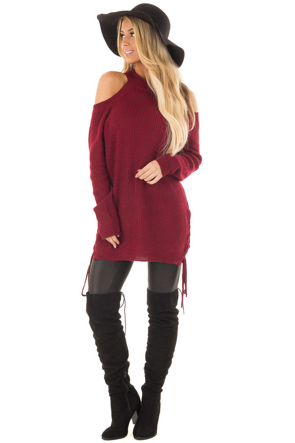 Burgundy Cold Shoulder Long Sleeve Sweater front full body