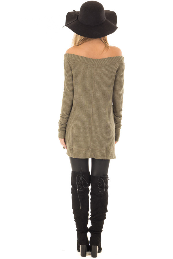 Olive Long Sleeve Off the Shoulder Waffle Knit Top back full body