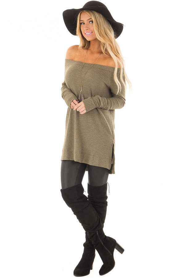 Olive Long Sleeve Off the Shoulder Waffle Knit Top front full body