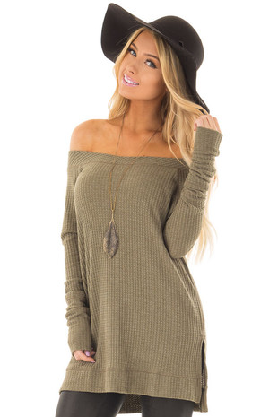 Olive Long Sleeve Off the Shoulder Waffle Knit Top front closeup