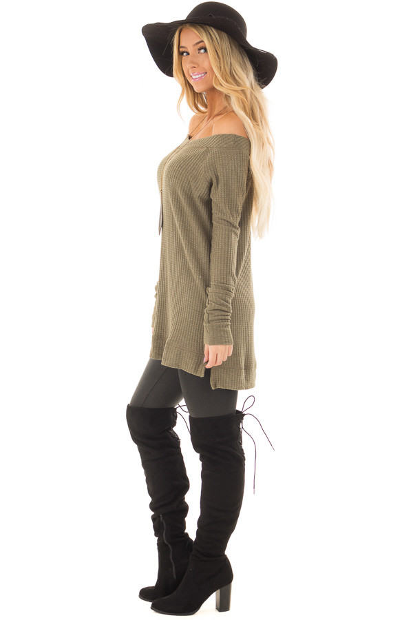 Olive Long Sleeve Off the Shoulder Waffle Knit Top side full body