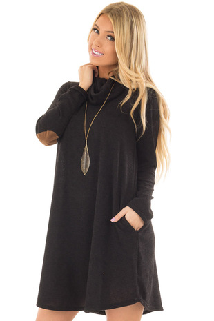 Black Cowl Neck Sweater Dress with Faux Suede Elbow Patches front closeup