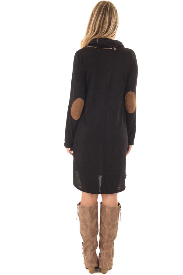 Black Cowl Neck Sweater Dress with Faux Suede Elbow Patches back full body