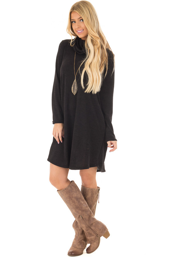 Black Cowl Neck Sweater Dress with Faux Suede Elbow Patches - Lime ...