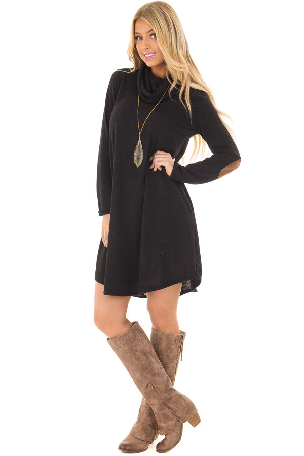 Black Cowl Neck Sweater Dress with Faux Suede Elbow Patches front full body