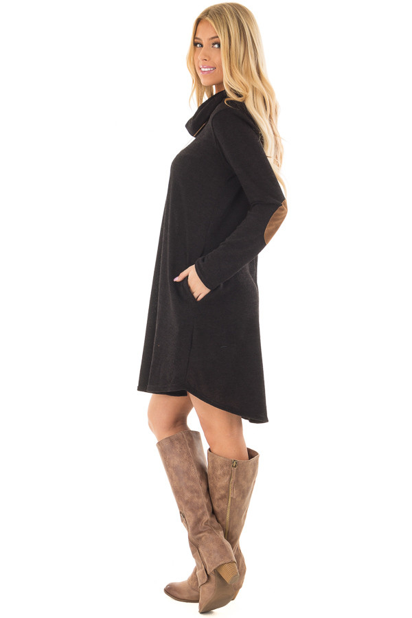 Black Cowl Neck Sweater Dress with Faux Suede Elbow Patches side full body