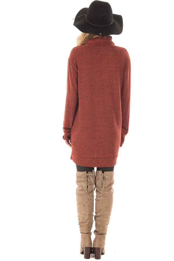 Rust Cowl Neck Soft Sweater with Button Details back full body