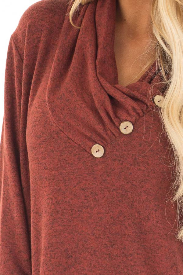 Rust Cowl Neck Soft Sweater with Button Details front detail