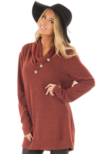 Rust Cowl Neck Soft Sweater with Button Details front closeup