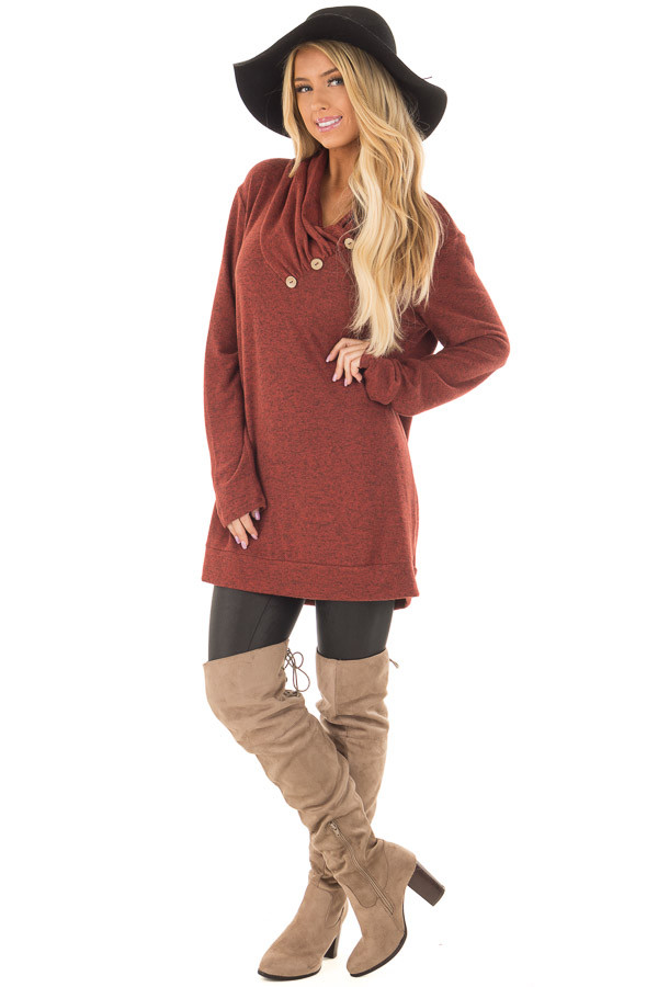 Rust Cowl Neck Soft Sweater with Button Details front full body