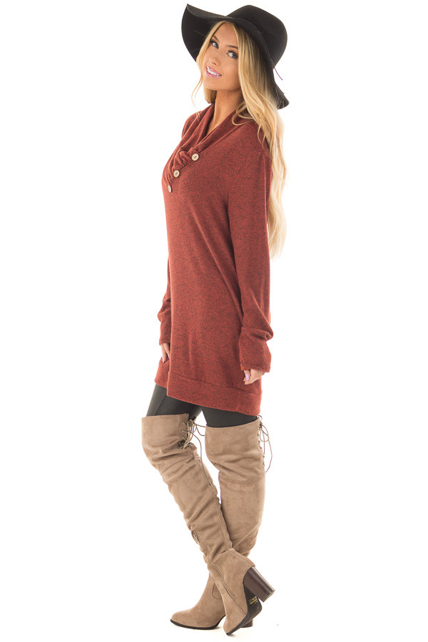 Rust Cowl Neck Soft Sweater with Button Details side full body