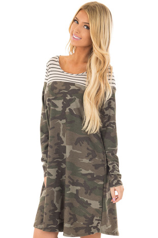 Olive Camo Dress with Charcoal Striped Color Block front closeup