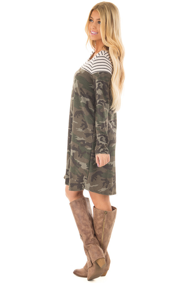 Olive Camo Dress with Charcoal Striped Color Block side full body