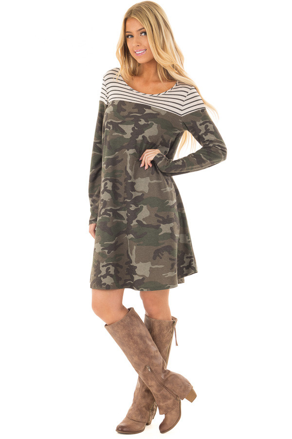 Olive Camo Dress with Charcoal Striped Color Block front full body