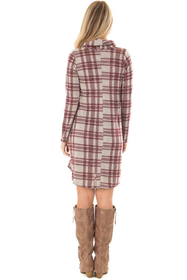 Heather Grey and Burgundy Plaid Cowl Neck Dress back full body