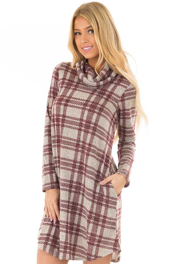 Heather Grey and Burgundy Plaid Cowl Neck Dress front closeup