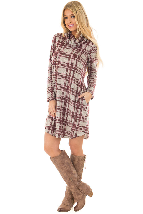 Heather Grey and Burgundy Plaid Cowl Neck Dress front full body