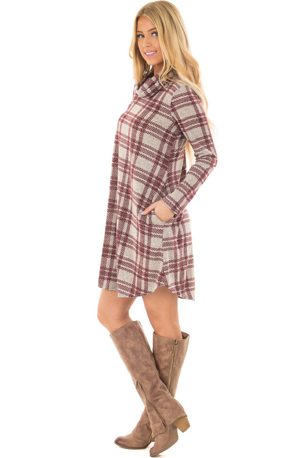 Heather Grey and Burgundy Plaid Cowl Neck Dress side full body