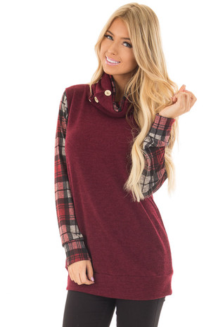 Burgundy Cowl Neck Sweater with Plaid Contrast front closeup