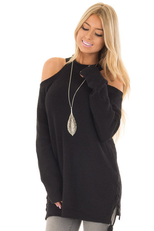 Black Cold Shoulder Long Sleeve Sweater front closeup