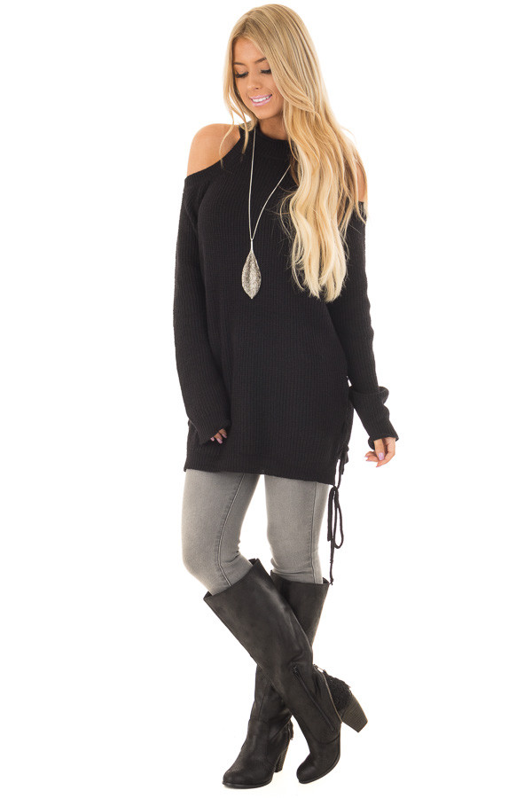 Black Cold Shoulder Long Sleeve Sweater front full body
