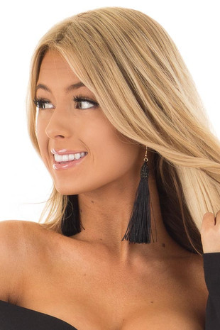 Black Tassel Earrings with Gold Details close