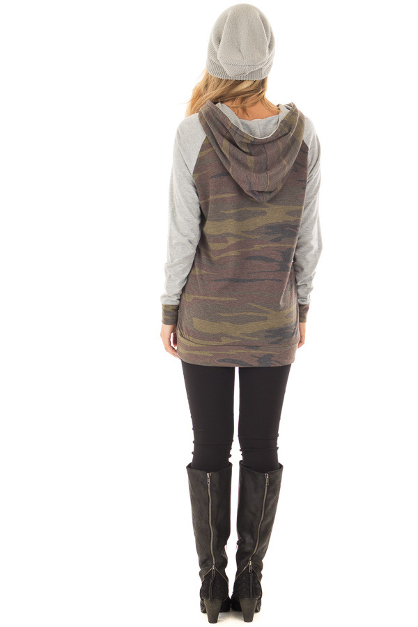 Camo and Heather Grey Hoodie with Zipper Detail back full body